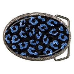 Skin5 Black Marble & Blue Marble (r) Belt Buckle