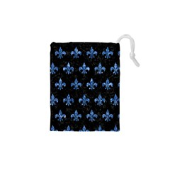 Royal1 Black Marble & Blue Marble (r) Drawstring Pouch (xs)