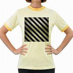 Stripes3 Black Marble & Silver Brushed Metal (r) Women s Fitted Ringer T Shirt