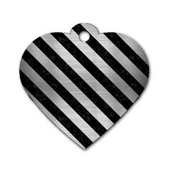 STR3 BK MARBLE SILVER (R) Dog Tag Heart (One Side)