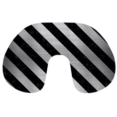 Stripes3 Black Marble & Silver Brushed Metal (r) Travel Neck Pillow