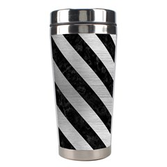 Stripes3 Black Marble & Silver Brushed Metal (r) Stainless Steel Travel Tumbler