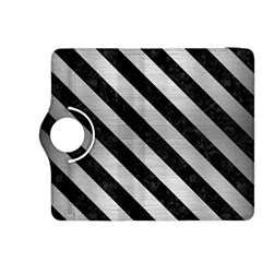 Stripes3 Black Marble & Silver Brushed Metal (r) Kindle Fire Hdx 8 9  Flip 360 Case