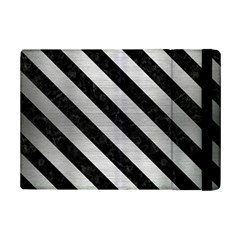 Stripes3 Black Marble & Silver Brushed Metal (r) Apple Ipad Mini 2 Flip Case
