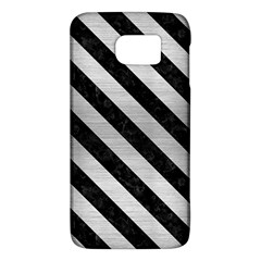 Stripes3 Black Marble & Silver Brushed Metal (r) Samsung Galaxy S6 Hardshell Case