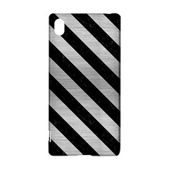 Stripes3 Black Marble & Silver Brushed Metal (r) Sony Xperia Z3+ Hardshell Case