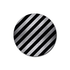 Stripes3 Black Marble & Silver Brushed Metal Rubber Coaster (round)