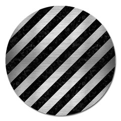 Stripes3 Black Marble & Silver Brushed Metal Magnet 5  (round)
