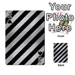 Stripes3 Black Marble & Silver Brushed Metal Playing Cards 54 Designs
