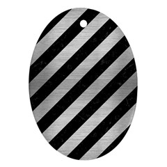 Stripes3 Black Marble & Silver Brushed Metal Oval Ornament (two Sides)