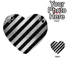 Stripes3 Black Marble & Silver Brushed Metal Playing Cards 54 (heart)