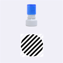 Stripes3 Black Marble & Silver Brushed Metal Rubber Stamp Round (small)