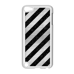 Stripes3 Black Marble & Silver Brushed Metal Apple Ipod Touch 5 Case (white)