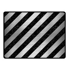 Stripes3 Black Marble & Silver Brushed Metal Double Sided Fleece Blanket (small)