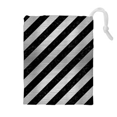 Stripes3 Black Marble & Silver Brushed Metal Drawstring Pouch (xl)
