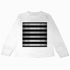 STR2 BK MARBLE SILVER Kids Long Sleeve T-Shirts