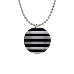 Stripes2 Black Marble & Silver Brushed Metal 1  Button Necklace