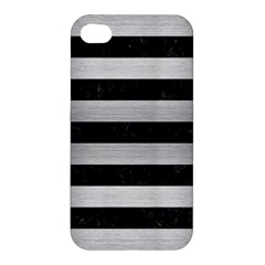 Stripes2 Black Marble & Silver Brushed Metal Apple Iphone 4/4s Hardshell Case