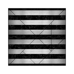 Stripes2 Black Marble & Silver Brushed Metal Acrylic Tangram Puzzle (6  X 6 )