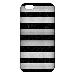 Stripes2 Black Marble & Silver Brushed Metal Iphone 6 Plus/6s Plus Tpu Case