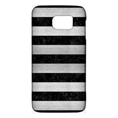 Stripes2 Black Marble & Silver Brushed Metal Samsung Galaxy S6 Hardshell Case