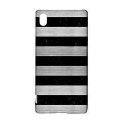 Stripes2 Black Marble & Silver Brushed Metal Sony Xperia Z3+ Hardshell Case