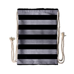 Stripes2 Black Marble & Silver Brushed Metal Drawstring Bag (small)