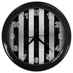 STR1 BK MARBLE SILVER Wall Clocks (Black)