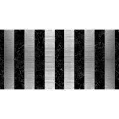 Stripes1 Black Marble & Silver Brushed Metal You Are Invited 3d Greeting Card (8x4)