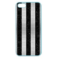 Stripes1 Black Marble & Silver Brushed Metal Apple Seamless Iphone 5 Case (color)