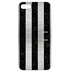 Stripes1 Black Marble & Silver Brushed Metal Apple Iphone 5 Hardshell Case With Stand