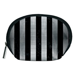 Stripes1 Black Marble & Silver Brushed Metal Accessory Pouch (medium)