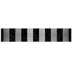 Stripes1 Black Marble & Silver Brushed Metal Flano Scarf (large)