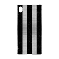 Stripes1 Black Marble & Silver Brushed Metal Sony Xperia Z3+ Hardshell Case
