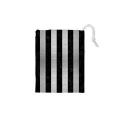 Stripes1 Black Marble & Silver Brushed Metal Drawstring Pouch (xs)