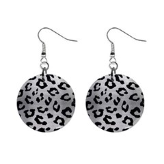 Skin5 Black Marble & Silver Brushed Metal 1  Button Earrings