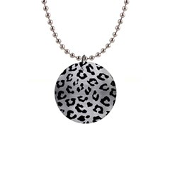 Skin5 Black Marble & Silver Brushed Metal 1  Button Necklace