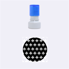 Royal1 Black Marble & Silver Brushed Metal (r) Rubber Stamp Round (small)