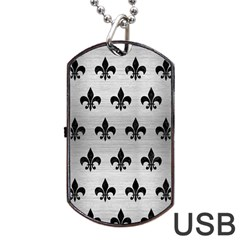 Royal1 Black Marble & Silver Brushed Metal Dog Tag Usb Flash (one Side)