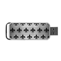 Royal1 Black Marble & Silver Brushed Metal Portable Usb Flash (two Sides)