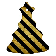 Stripes3 Black Marble & Gold Brushed Metal (r) Ornament (christmas Tree)