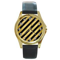 STR3 BK MARBLE GOLD Round Gold Metal Watch