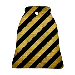Stripes3 Black Marble & Gold Brushed Metal Bell Ornament (two Sides)