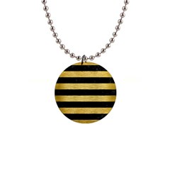 Stripes2 Black Marble & Gold Brushed Metal 1  Button Necklace