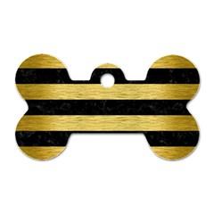 STR2 BK MARBLE GOLD Dog Tag Bone (One Side)