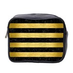 STRIPES2 BLACK MARBLE & GOLD BRUSHED METAL Mini Toiletries Bag (Two Sides) Front