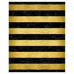 Stripes2 Black Marble & Gold Brushed Metal Drawstring Bag (small)