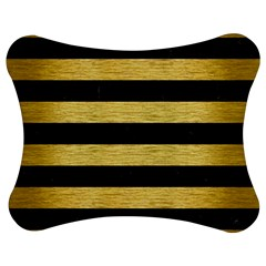 Stripes2 Black Marble & Gold Brushed Metal Jigsaw Puzzle Photo Stand (bow)