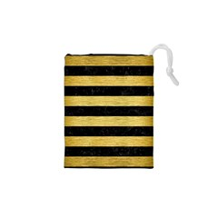 Stripes2 Black Marble & Gold Brushed Metal Drawstring Pouch (xs)