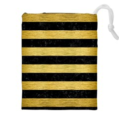 Stripes2 Black Marble & Gold Brushed Metal Drawstring Pouch (xxl)